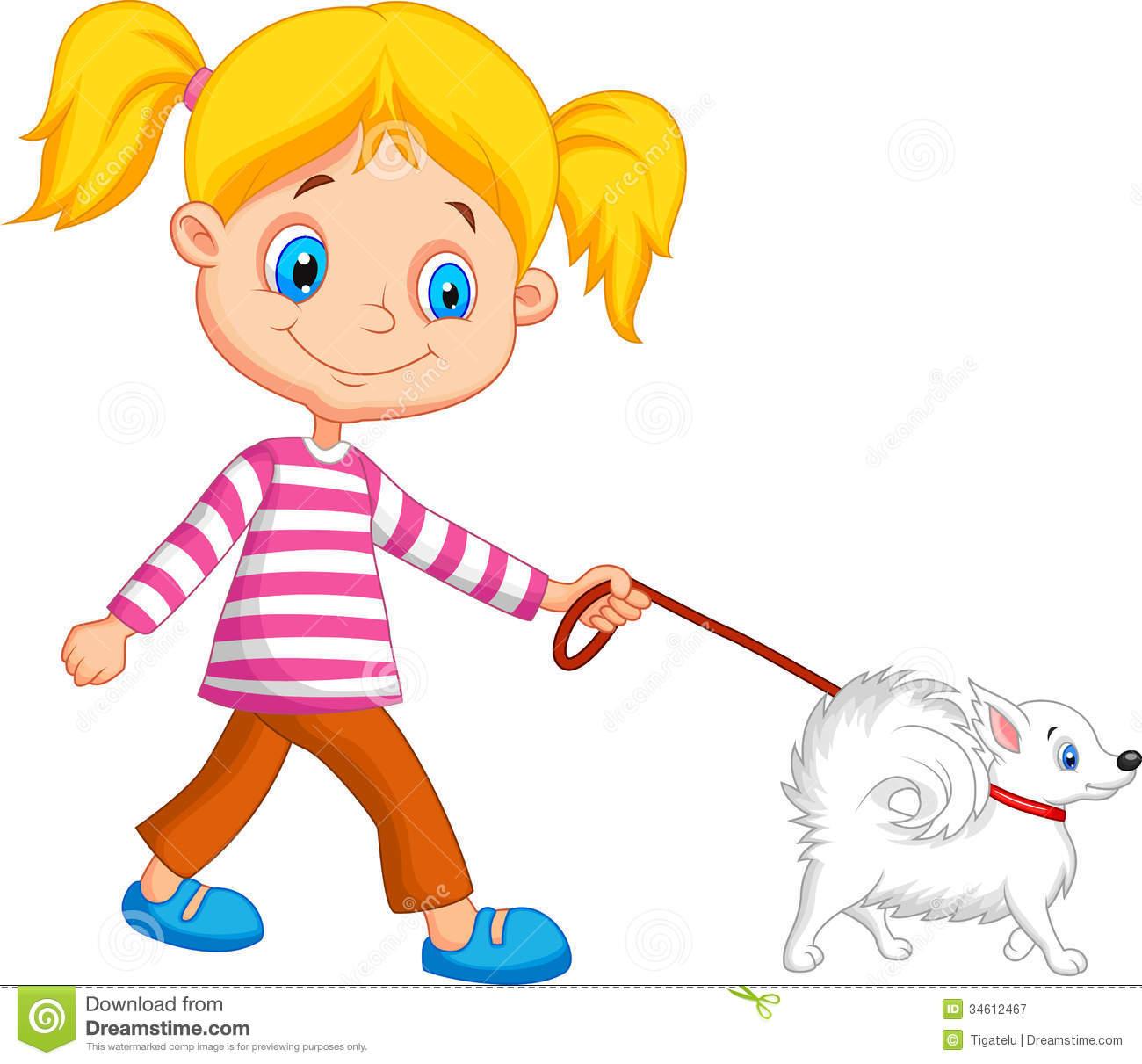 clipart girl walking dog - photo #11