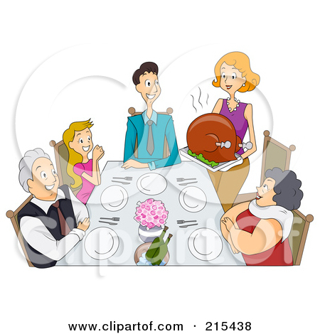 Free  Rf  Clipart Illustration Of A Happy Woman Serving A Large