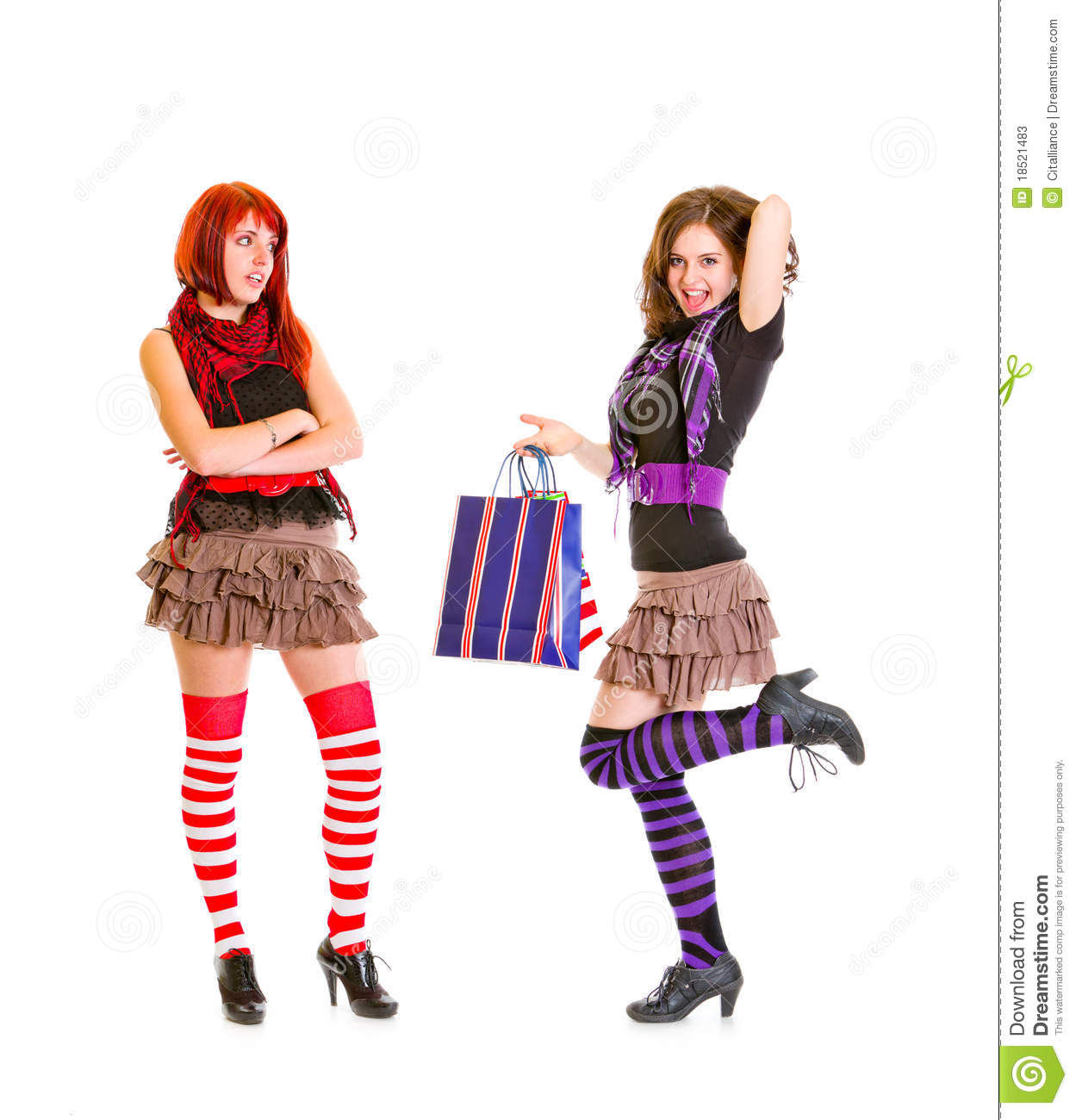 Girl Looking On Holding Bags Girlfriend Stock Photos   Image  18521483