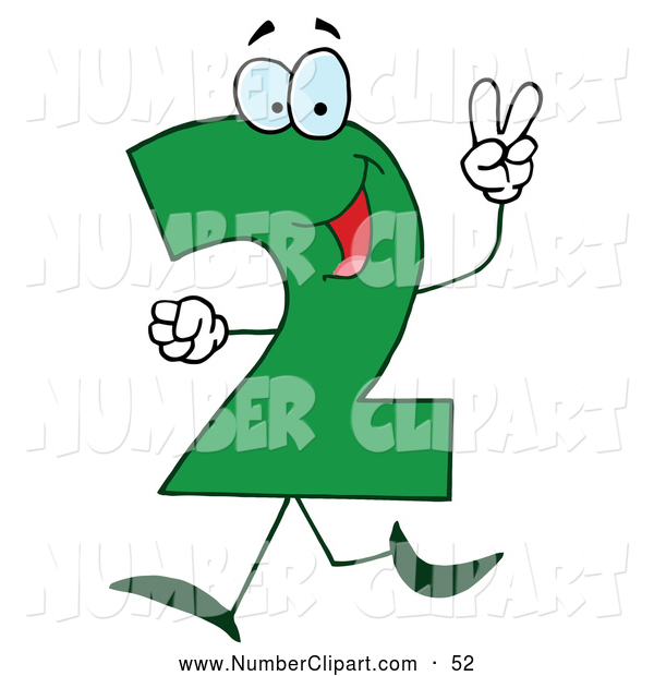 Green Number 2 Two Guy Number Clip Art Hit Toon - Clipart Kid