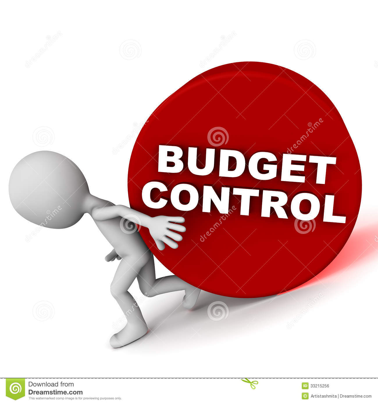 Small Man Trying Hard To Do Budget Control Concept Of Keeping Costs