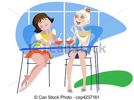 Vector Clip Art Of Girlfriend In A Cafe   Two Young Girls Fun Talking