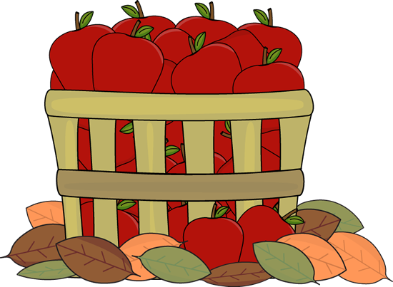 Autumn Apples Clip Art Image   Old Basket Filled With Red Apples And