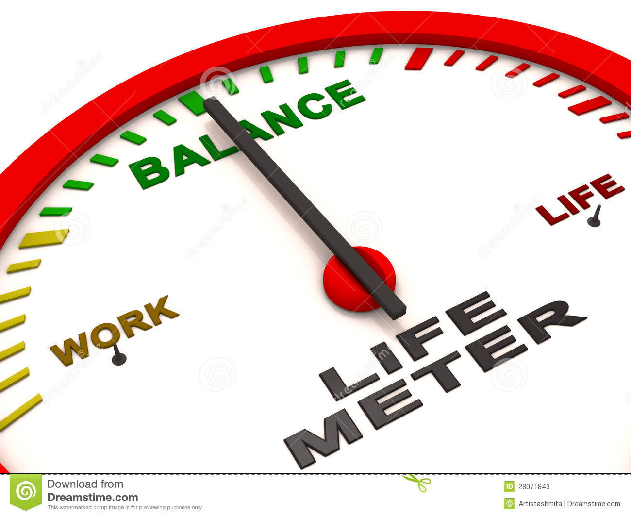 Balance Of Work And Life Shown In The Gauge With Needle On Balance