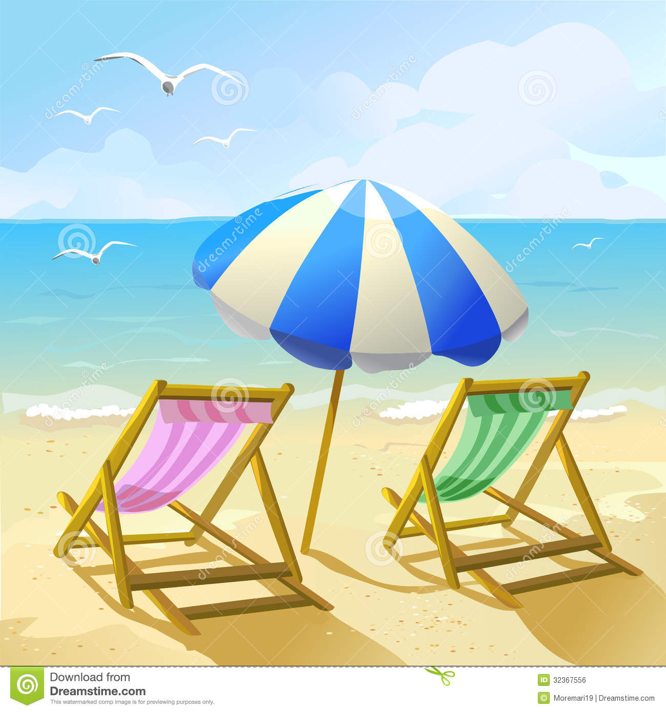Beach With Sun Umbrella And Two Lounge Chairs Royalty Free Stock Image