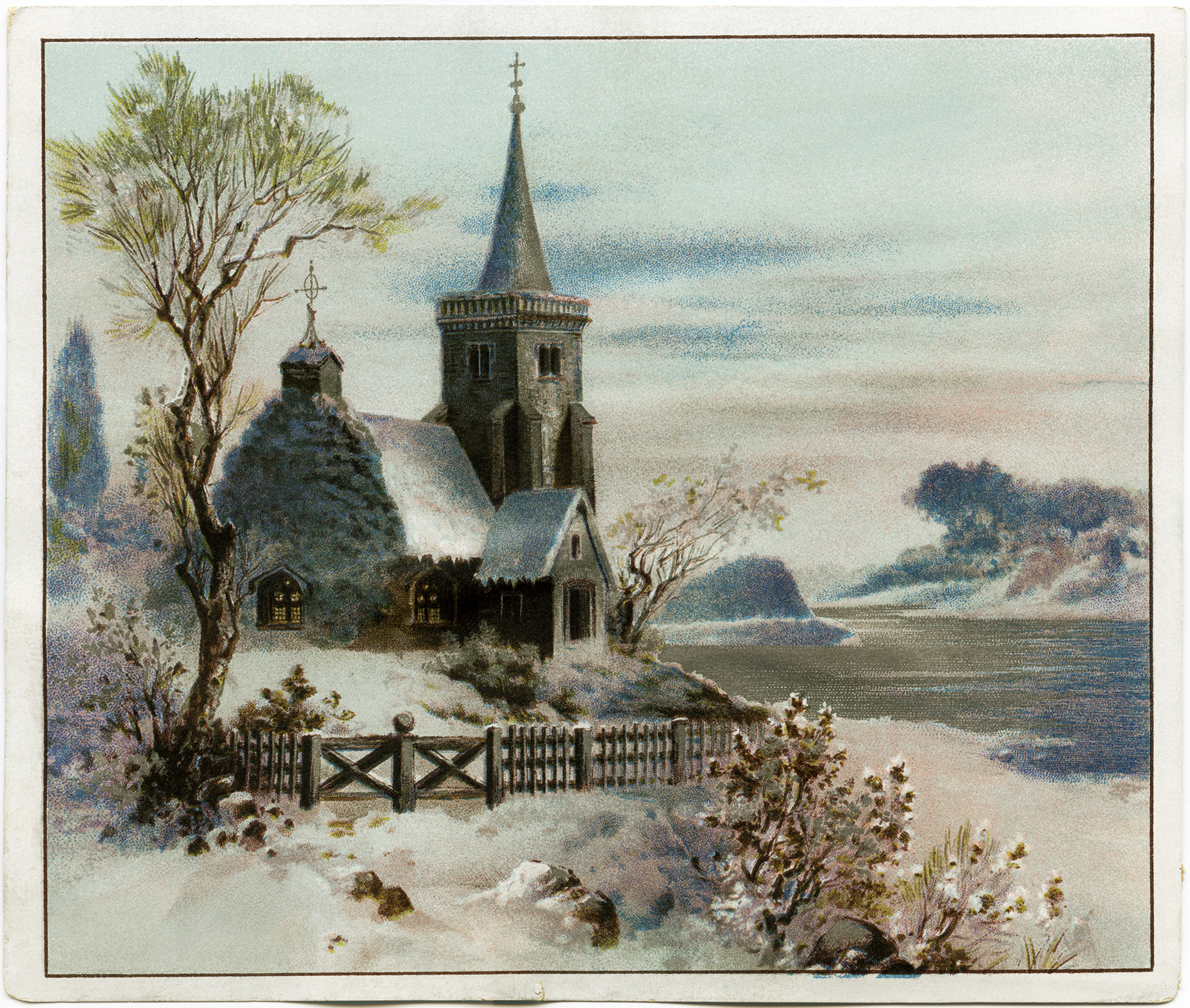 Card Vintage Christmas Clip Art Snowy Winter Country Scene Old