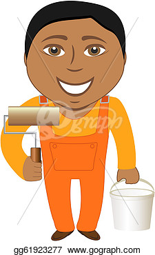 Cartoon Afro American Smile Professional Painter  Clip Art Gg61923277