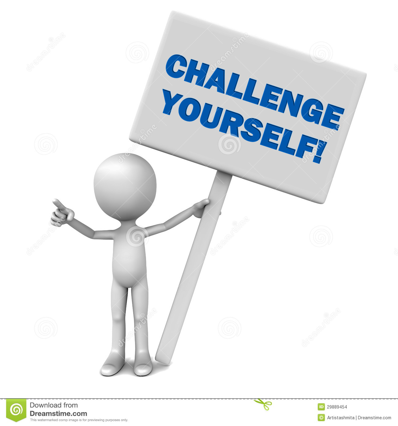 Challenge Yourself Words On A Large Banner Held Up By A Little 3d Man