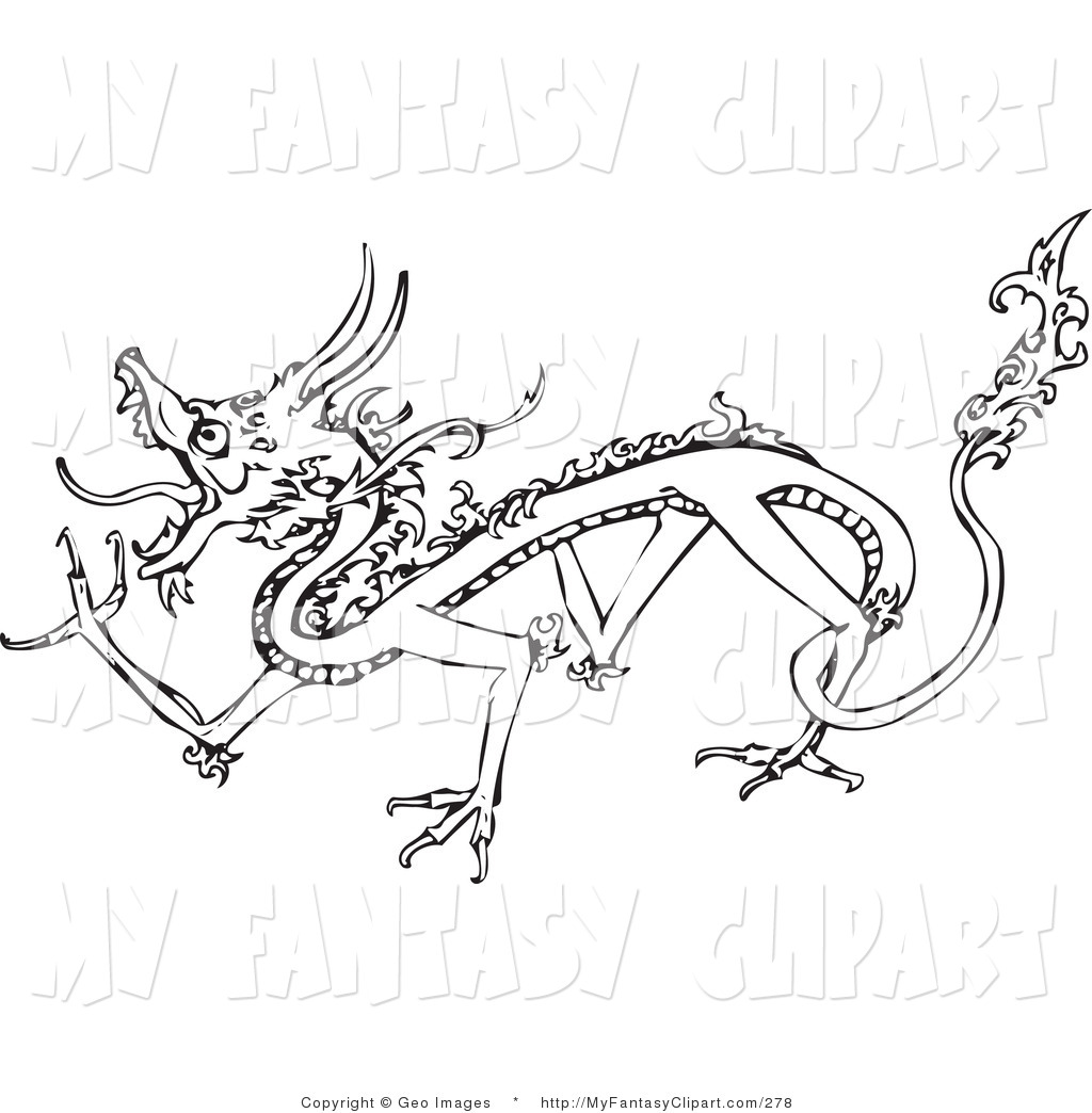 Clip Art Of A Walking Dragon Outline By Geo Images    278