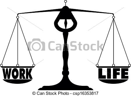 Clip Art Of Work Life Balance   Detailed Illustration Of A Work Life
