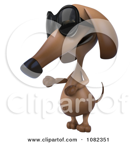 Clipart 3d Pookie Wiener Dog Wearing Shades And Presenting   Royalty