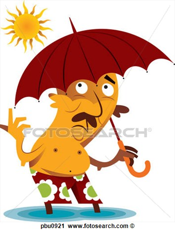 Clipart Of A Man Holding An Umbrella While In The Sun Pbu0921   Search