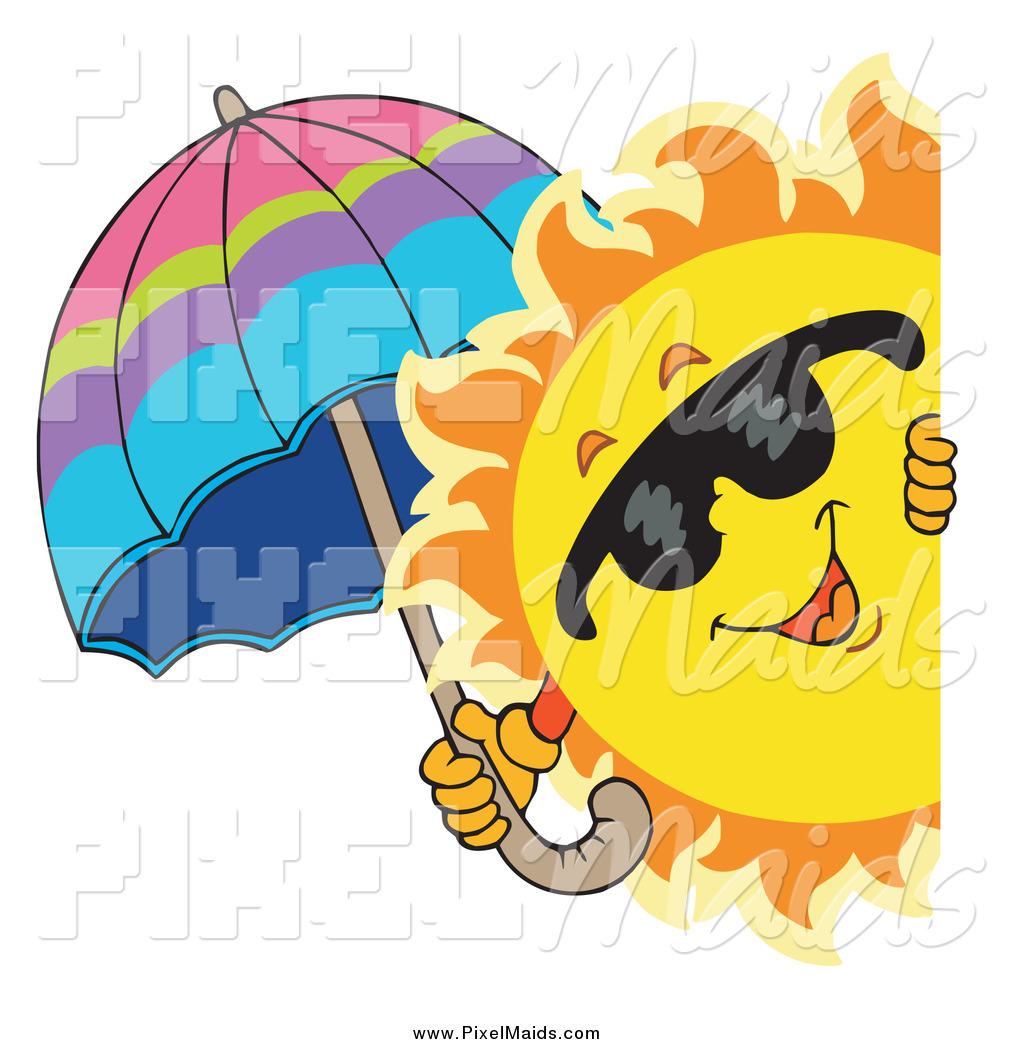 Clipart Of A Summer Sun Holding An Umbrella While Looking Around A