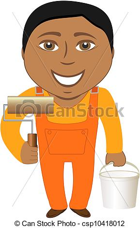 Clipart Of Cartoon Smile Professional Painter   Cartoon Afro American