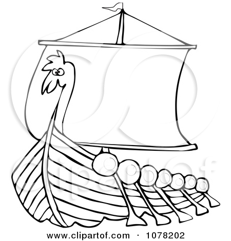 Clipart Outlined Viking Dragon Ship With Oars   Royalty Free Vector