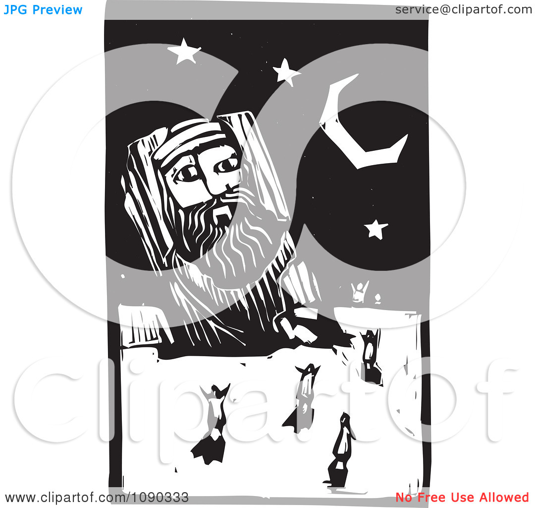 Clipart People Dancing Around A Giant Statue Under The Stars Black And