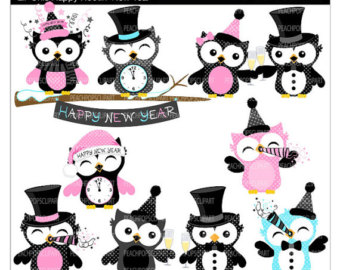 Cute Clipart Party Holiday   Lil Ch Ic Happy Hootin New Year   Owls