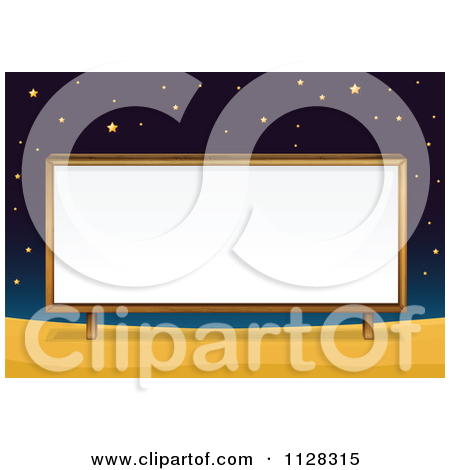 Of A Billboard Sign Under Stars At Night   Royalty Free Vector Clipart