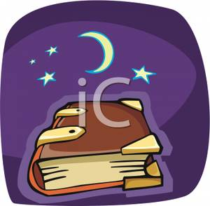 Old Spell Book Under The Moon And Stars   Royalty Free Clipart Picture