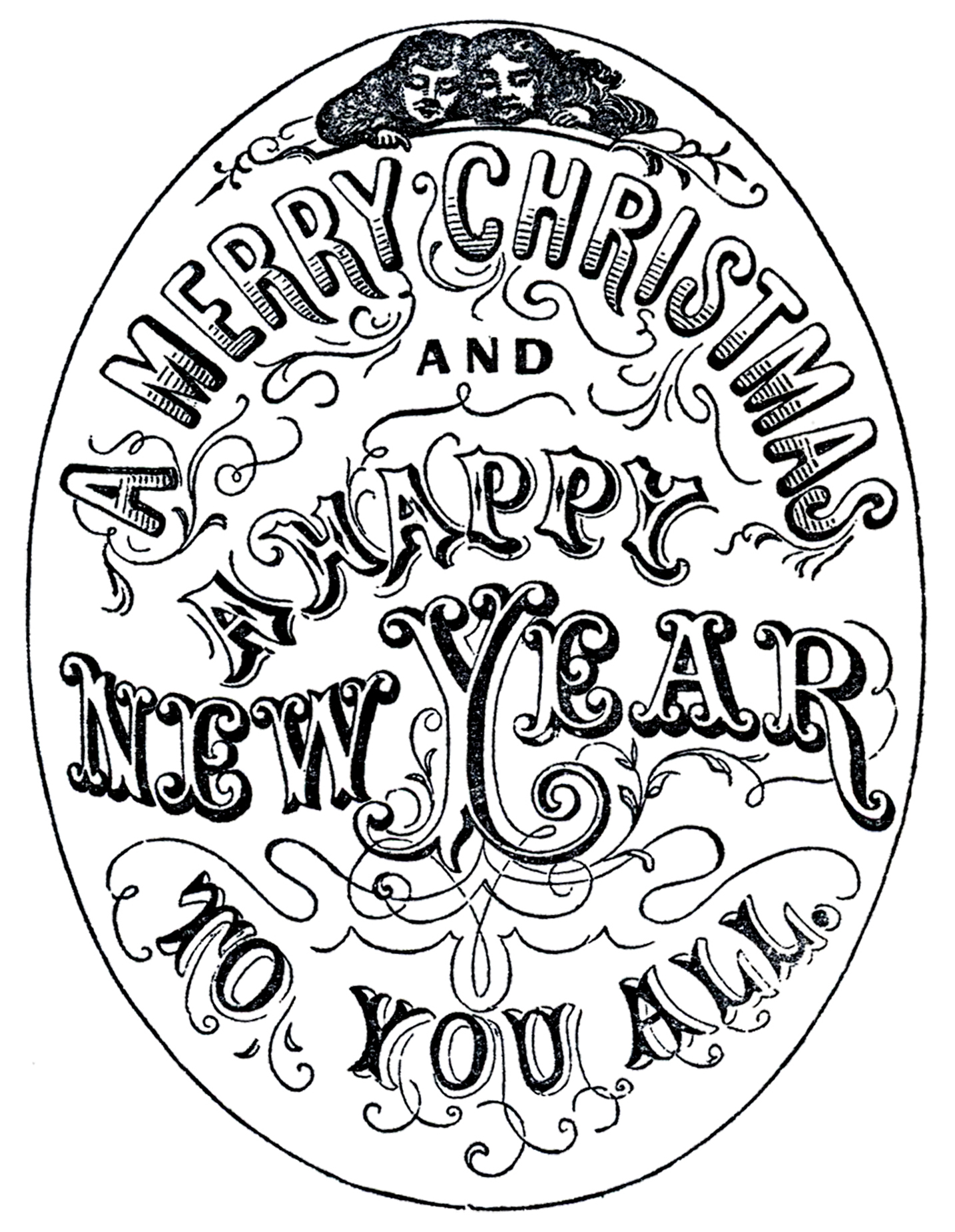 Old Time Christmas Typography    The Graphics Fairy