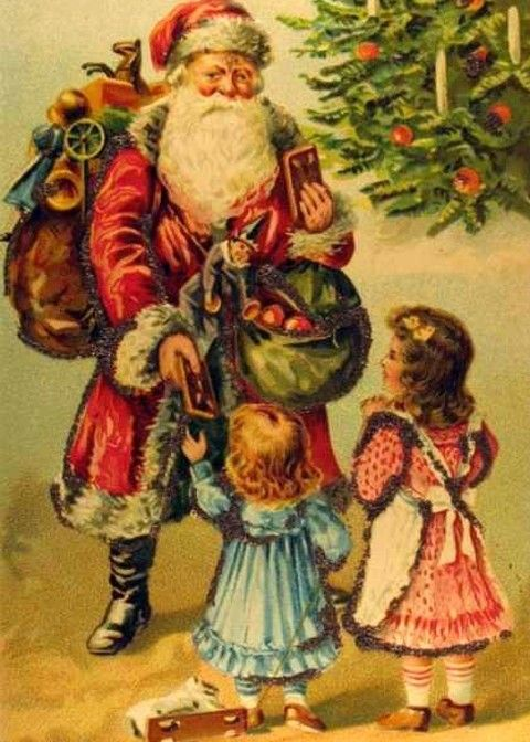 Old Time Santa Claus Painting Free Vintage Holiday Christmas Clip Art