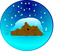 Sleeping Bear Under Stars With Snow   Circle Clip Art  Png And Svg