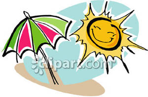 Smiling Sun And Beach Umbrella   Royalty Free Clipart Picture