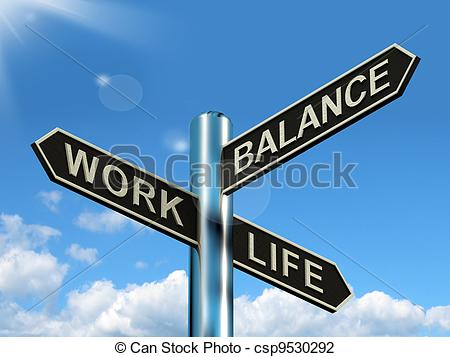Stock Illustration   Work Life Balance Signpost Showing Career And