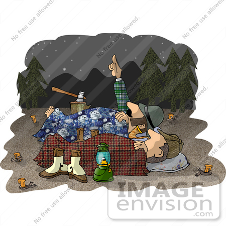 Two Male Campers Sleeping Out Under The Stars Clipart    18892 By