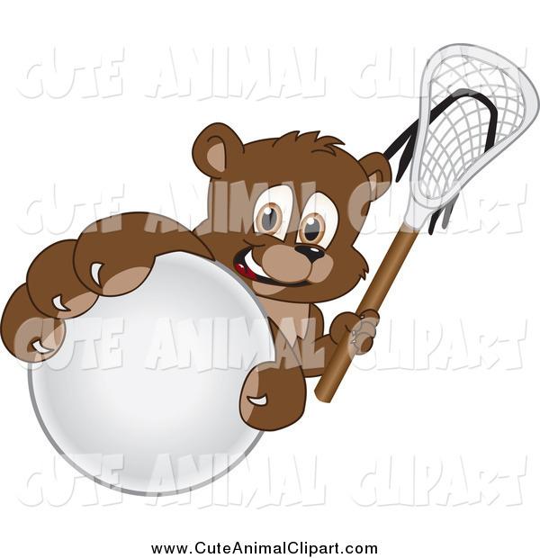 Vector Cartoon Clip Art Of A Bear Cub Grabbing A Lacrosse Ball By