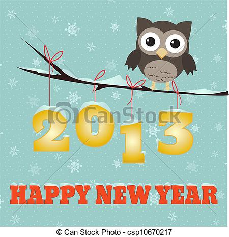 Vector Clip Art Of Owl Happy New Year 2013   Little Brown Owl On
