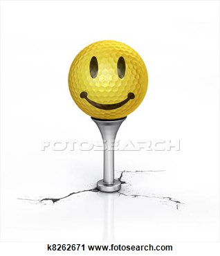 Yellow Golf Ball With The Texture Of Smile Placed On Tee  View Large