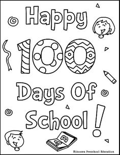 100th Day Of School Printable Coloring Page And Song 100th Day School