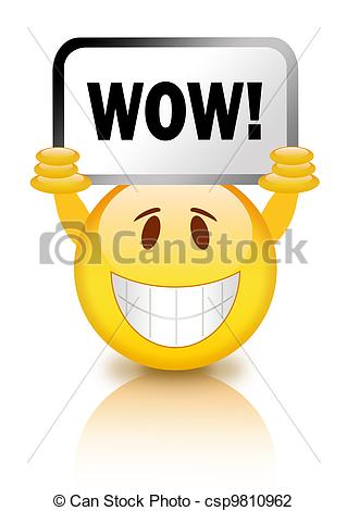 Art Of Wow Smiley   Smiley With Wow Sign Csp9810962   Search Clipart