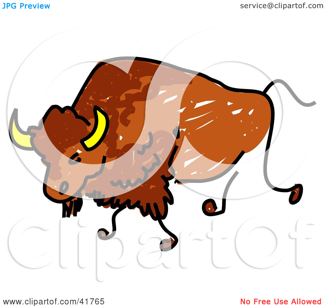 Bison Mascot Clipart Clipart Illustration Of A