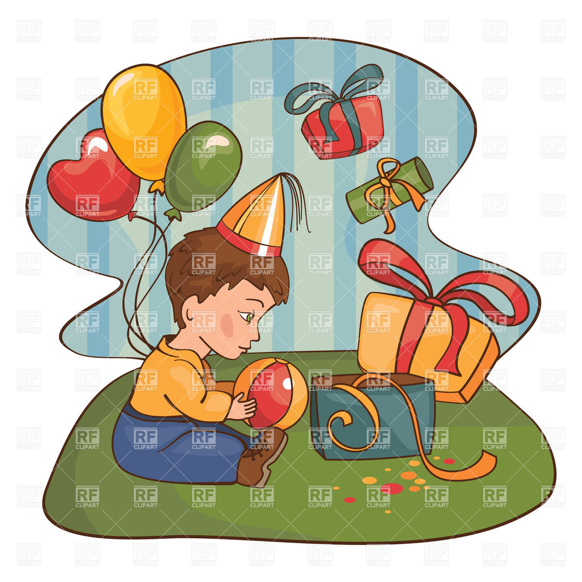 Boy Opens Birthday Gifts Download Royalty Free Vector Clipart  Eps