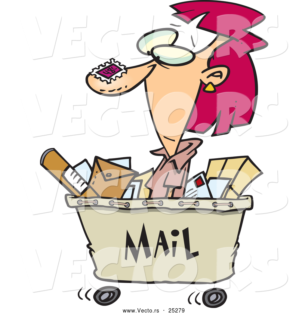 Cartoon Woman Shipping Out With Lots Of Mail In A Cart By Ron Leishman