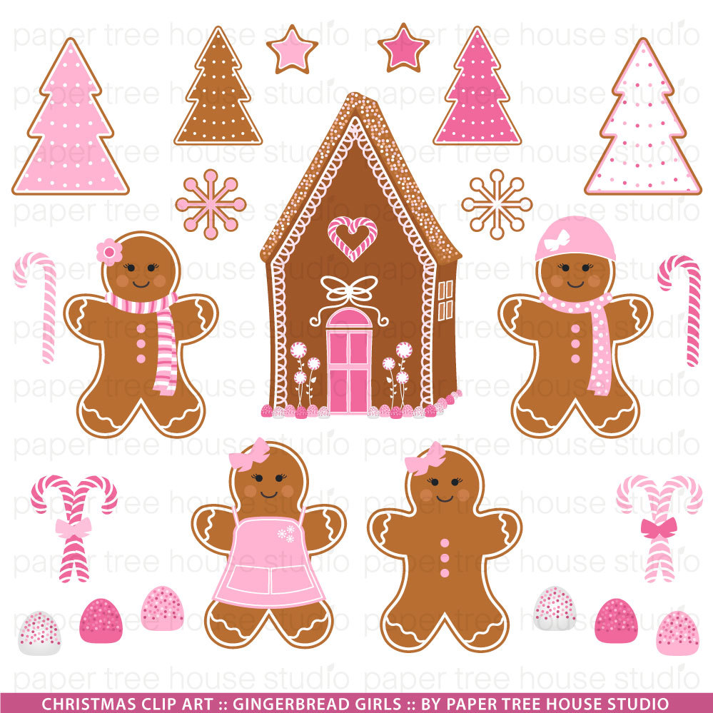 Clip Art Set Pink Gingerbread Girls By Papertreehousestudio