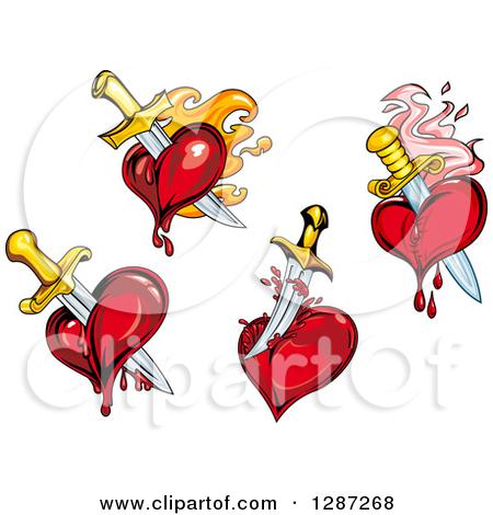 Clipart Of Swords Stabbing Bleeding Hearts Royalty Free Vector ...