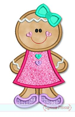 Gingerbread Girl Applique 4x4 5x7 6x10 Svg