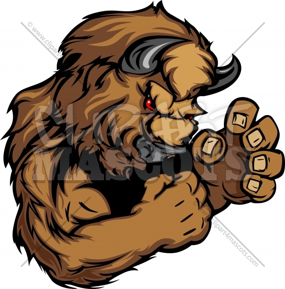 Graphic Vector Image Of A Bison Or Buffalo Mascot   Clipart 4 Mascots
