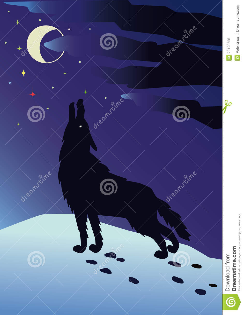 Lone Wolf Howling At The Moon On A Winter Night