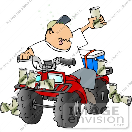 Man Drinking Beers And Driving An Atv Clipart    14849 By Djart