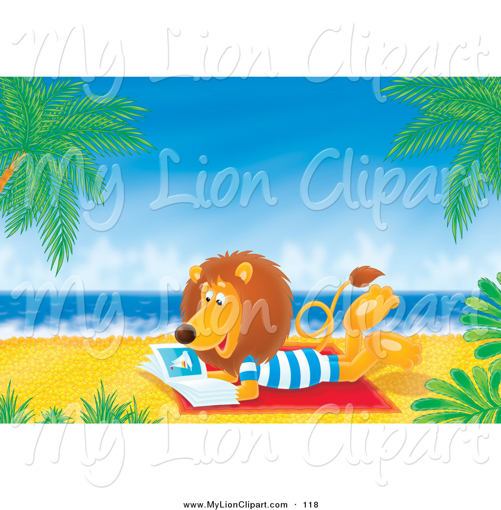 Preview  Clipart Of A Relaxing Lion Reading A Book On A Tropical Beach