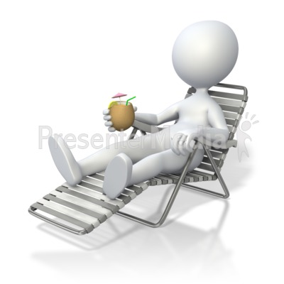 Stick Figure Relaxing In Beach Chair   3d Figures   Great Clipart For