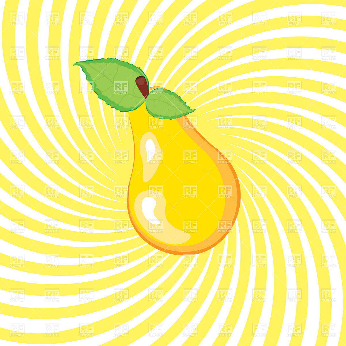 Yellow Pear With Leaf Download Royalty Free Vector Clipart  Eps