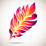 Abstract Colorful Isolated Pink Feather Clipart