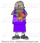 African American Teenage Basketball Player With A Ball In Hand