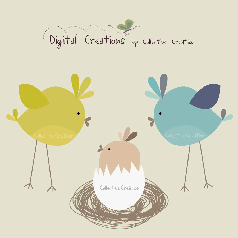 Baby Bird In Egg Digital Clipart Clip Art By Collectivecreation