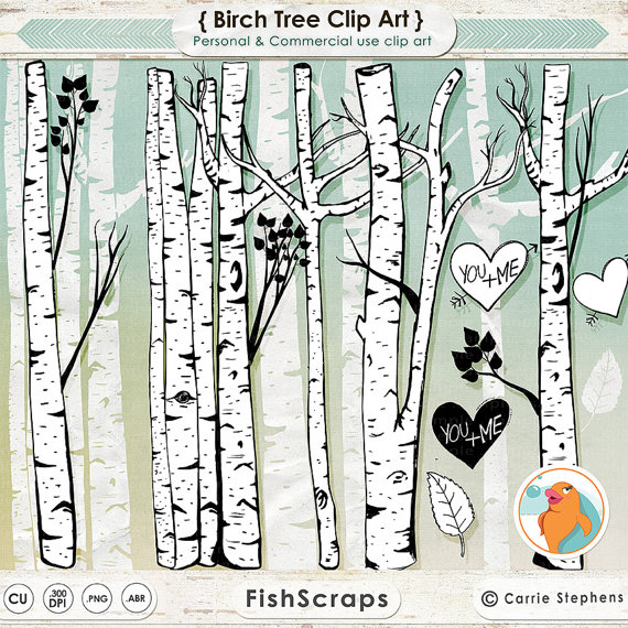 Birch Tree Clip Art Winter Forest Tree Branch Clipart Outlines
